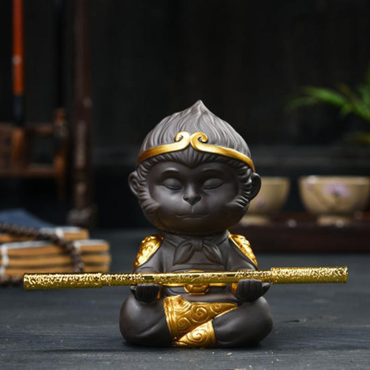 Çin Mor Kil Kung Fu Çay Seti Çay Hayvan Maymun Kral Oolong Çay Ev Dekorasyon Sıcak satış