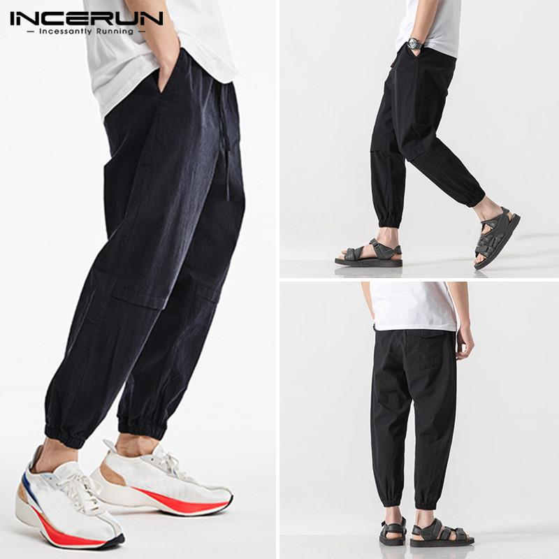 2020 Men Beam Feet Cargo Overalls Male Punk Style Pockes Pants Loose Solid Color Line Streetwear S-5XL