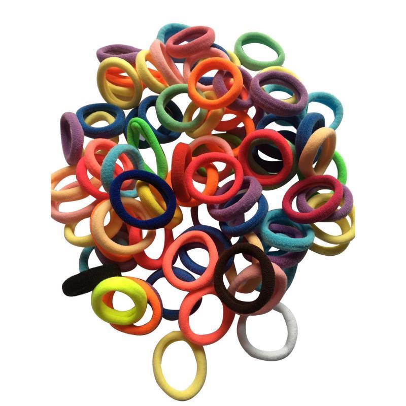 100 шт детские аксессуары конфеты цвета эластичные галстуки для волос гибкая лента веревка хвост браслет резиновая Струна frotki do wlosow