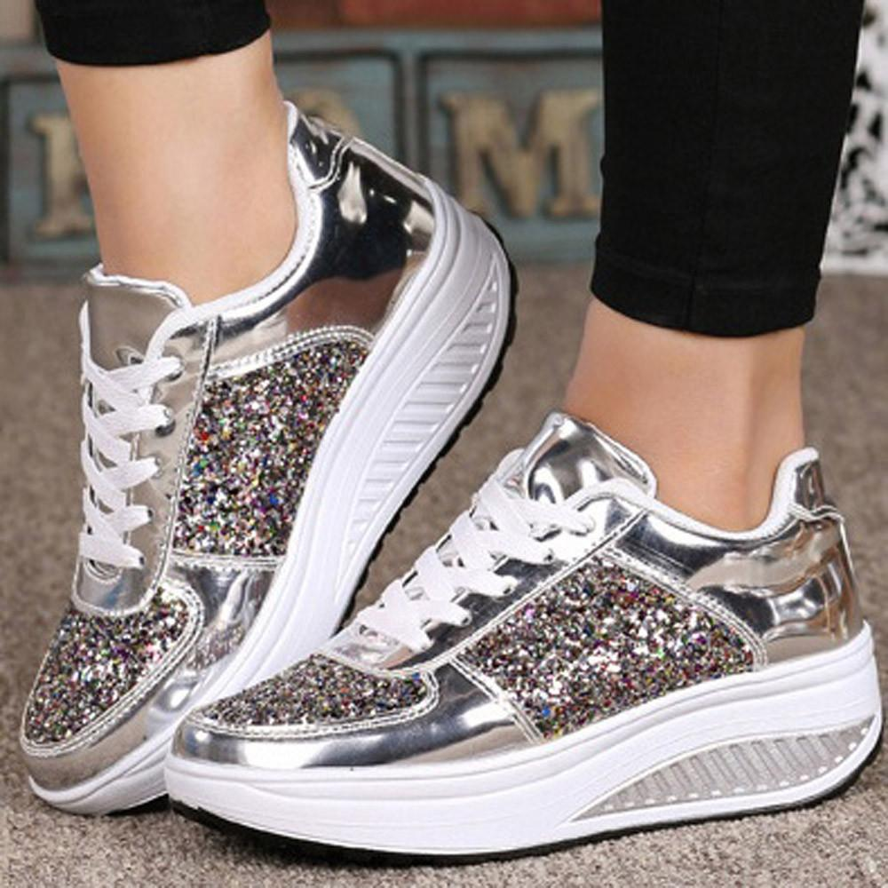 2019 Spring Bling Shiny Fashion Sequins Women Shoes Platform Wedges Shake Glitter Sport for Woman Lace-Up Stability Sneakers
