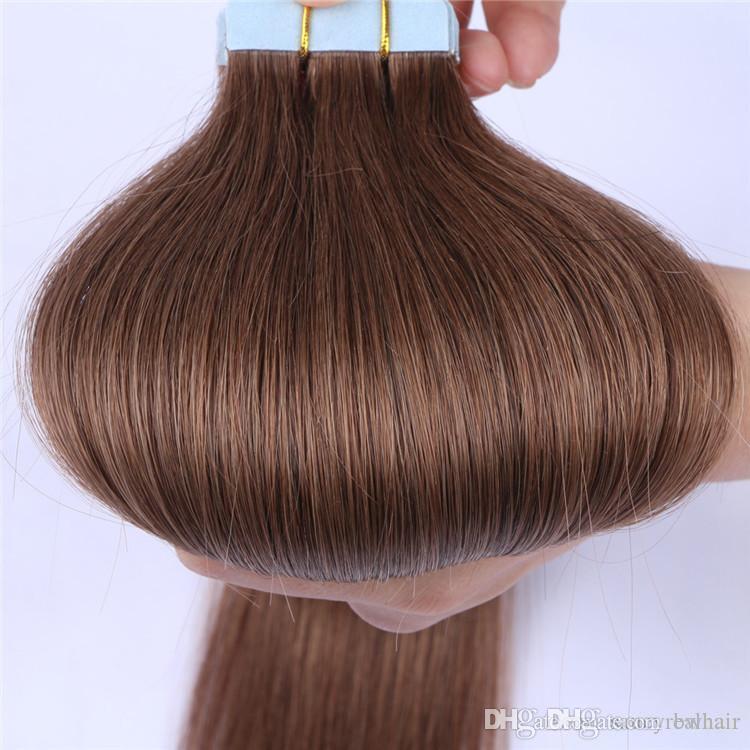 Bakire İnsan Saç Uzantıları Doğal Ham Virgin Remy Brezilyalı Cilt atkılar İyi Kalite Teyp, 2.5gr parça 80 adet Lot Ücretsiz Kargo