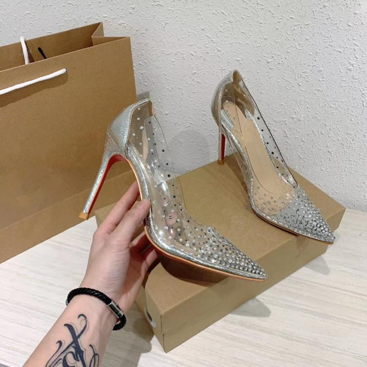 High-Heeled Shoes Women's Shoes Glass Glue Pressure Drilling 2020 New Sexy Pointed Female