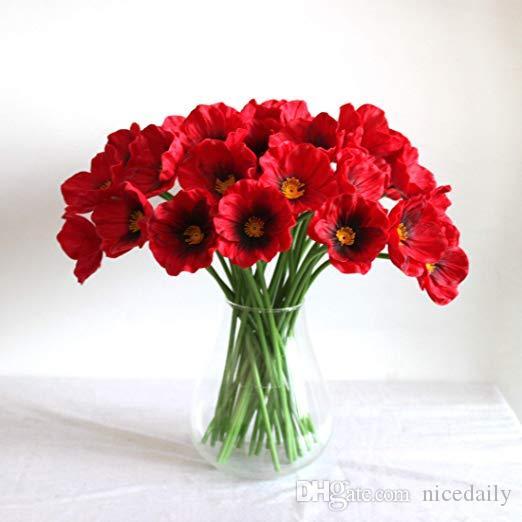 """Papavero rosso in lattice di fiori artificiali tocco reale Poppies per Wedding Decor fai da te del partito della casa vacanze Bridal Bouquet Tavolo decorativo 12.5"""""""