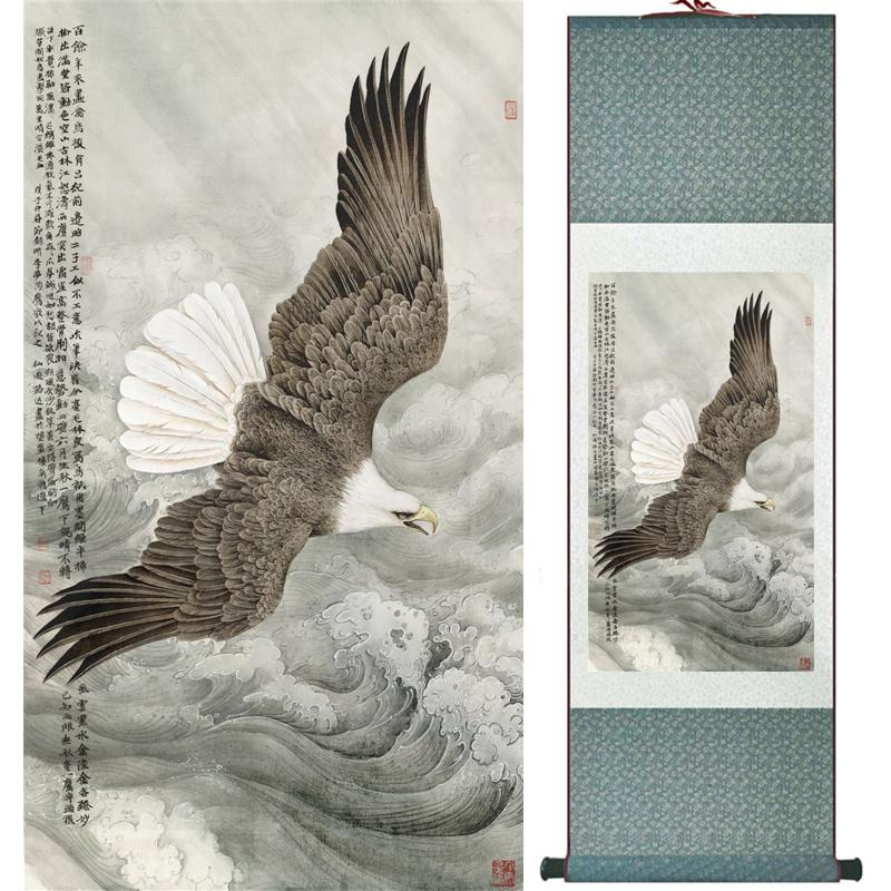 Kartal Boyama Ev Ofis Dekorasyon Çin Kaydırma Boyama Kartal Çam Ağacı Boyama Kartal Resim Scgs120313