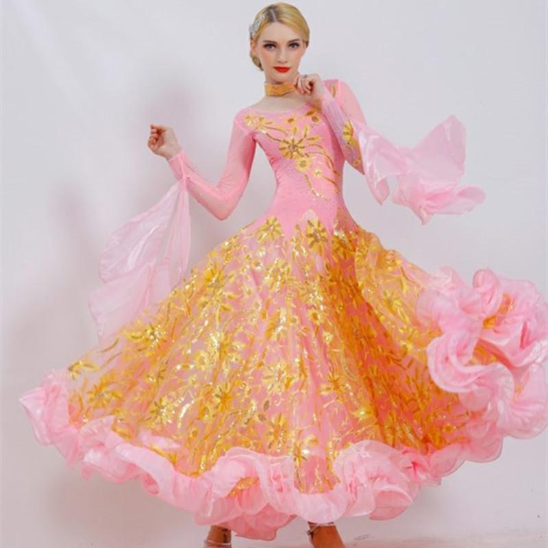 Stage Wear Pink Ballroom Dance Competition Dresses Fringe Women Dress Standard Waltz Dacing Clothes