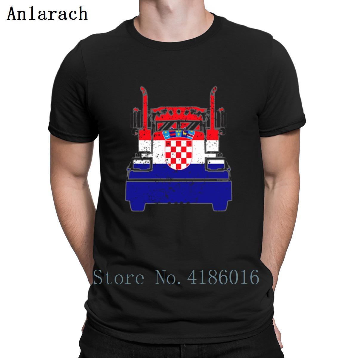 Croatian Trucker Kroatien-Flagge Long Haul Trucker T-Shirt Trend Short Sleeve T-Shirt für Männer 2018 Designer Pop Top Tee Sonnenlicht