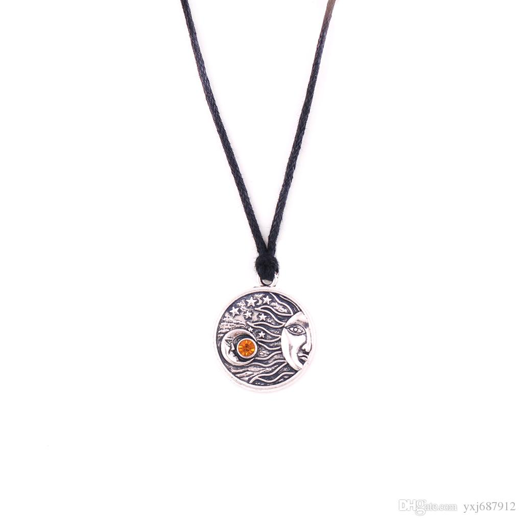HS08 classic moon shape with star design funeral urn religious pendant rope necklace jewelry