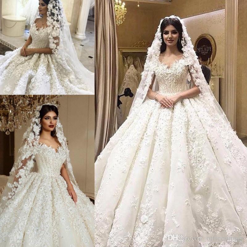 Арабский старинный 3D кружева аппликационные шариковые платья свадебные платья Кристаллы плюс размер пухлые бисером свадебные платья стразы часовня свадебные платья