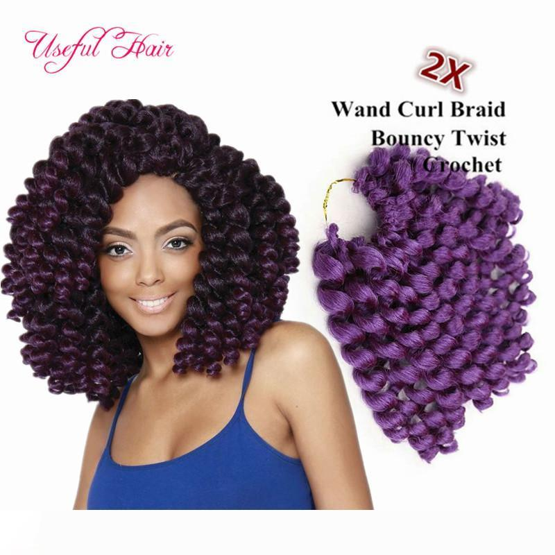 brazilian cheap 8inch wand curl bouncy twist crochet hair extensions Janet Collection synthetic braiding hair ombre crochet hair bundles