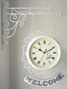 Nouvelle horloge spéciale murale rustique horloge méditerranéenne face / verso mode créatif mouvement muet / blanc