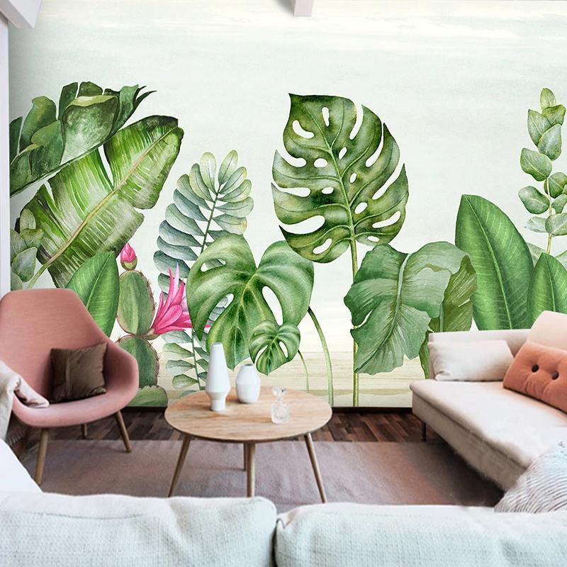Dropship Custom Photo Wallpaper Murals Nordic Green Leaf Modern Banana Leaves 3D Living Room Sofa Bedroom Wall Painting Home Decoration