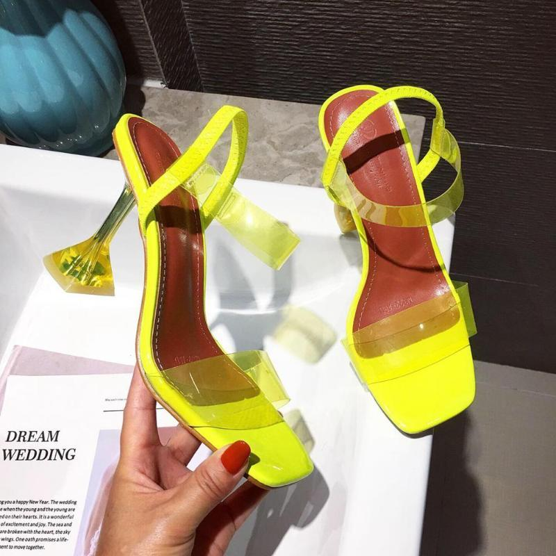 Yellow White PVC Jelly Sandals Crystal Open Toe Perspex Sike High Heels Crystal Women Transparent Heel Sandals 9CM Pumps Size 40
