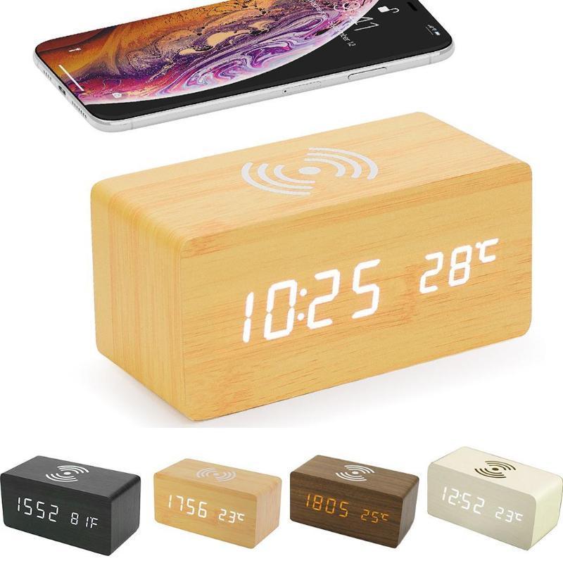Hölzerne LED Wecker Wireless-Charging Ton 1-4 Steuerung Temperatur wie Bild anzeigen