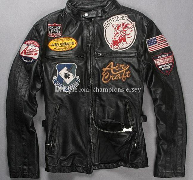 Men's Punk locomotive suit multi standard Jacket motorcycle clothes first layer genuine leather washed and Pleated