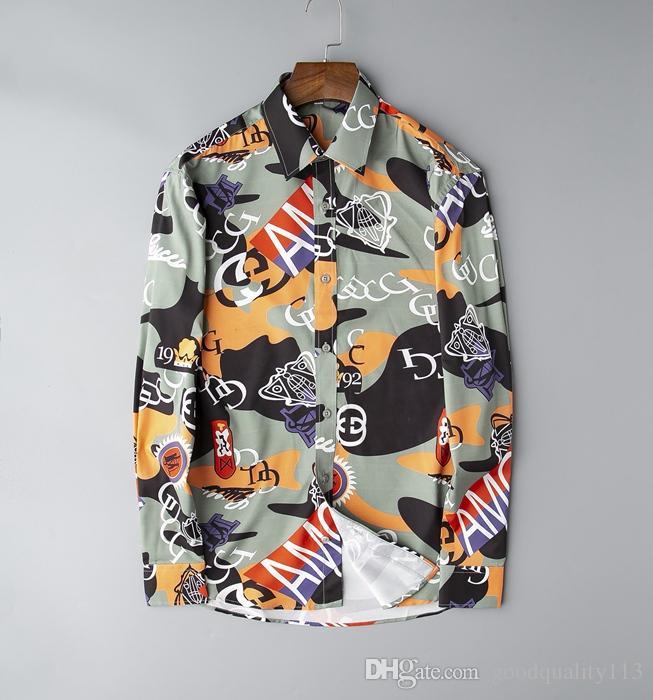 de haute qualité chemise polo casual Italie impression bande automne robe de la mode masculine d'hiver des hommes purs treillis Medusa de chemise à carreaux chemise de mode