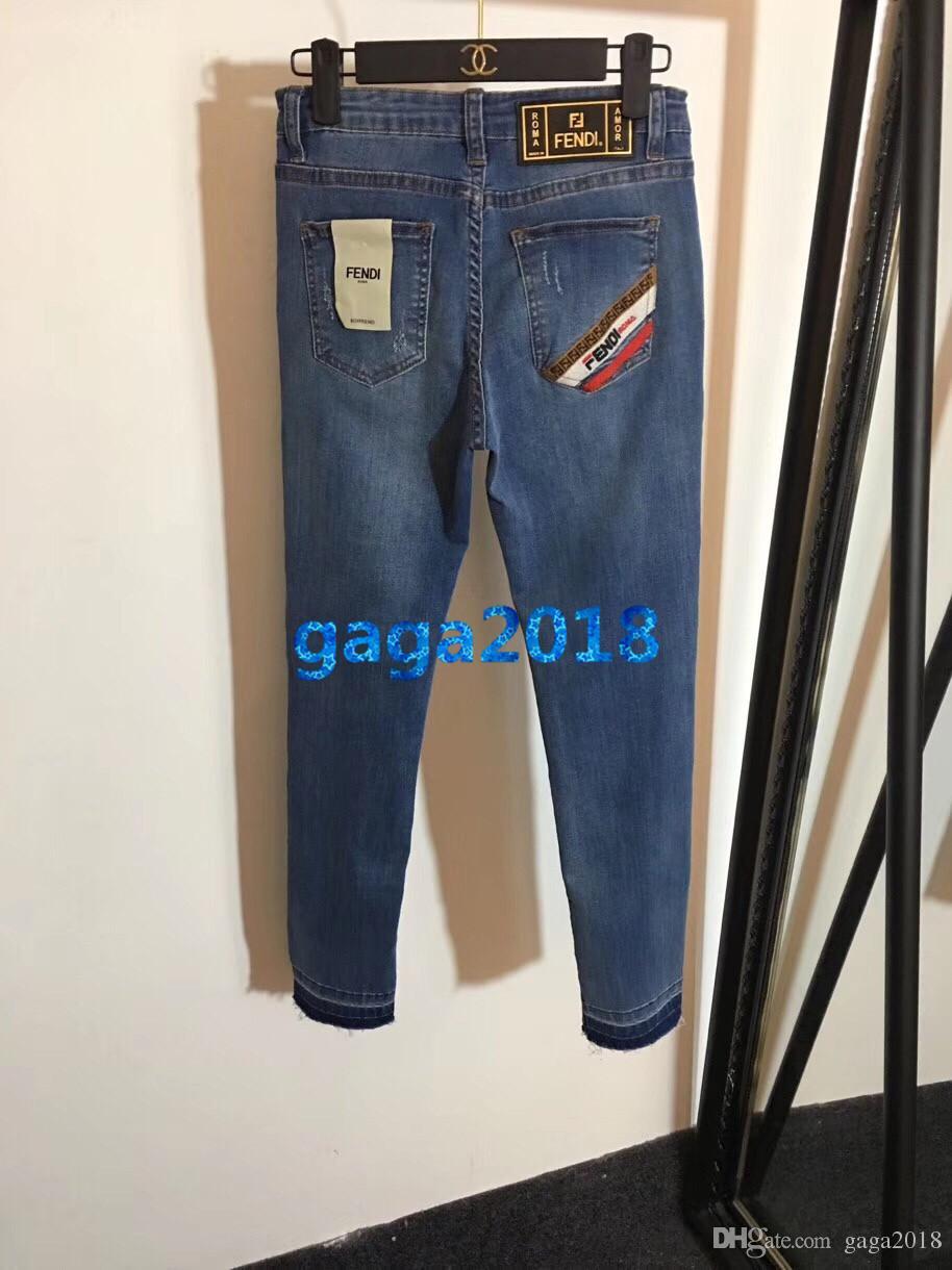Women Girls Blue Denim Pant Embroidery Letter Striped Broken Jeans Pencil Pants Capris Casual Trousers High-End Custom Fashion Luxury Dress