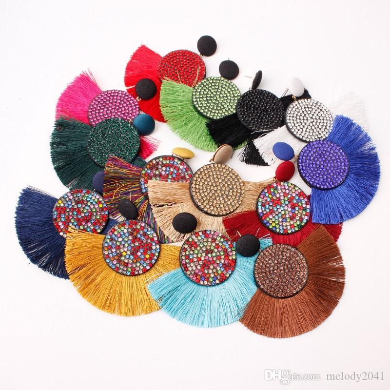 Böhmische Perlen Quaste Baumeln und Kronleuchter Ohrringe Frauen Mode Kreative Fan Drop Spot Bunte Rhinestone 14 Farben Großhandel