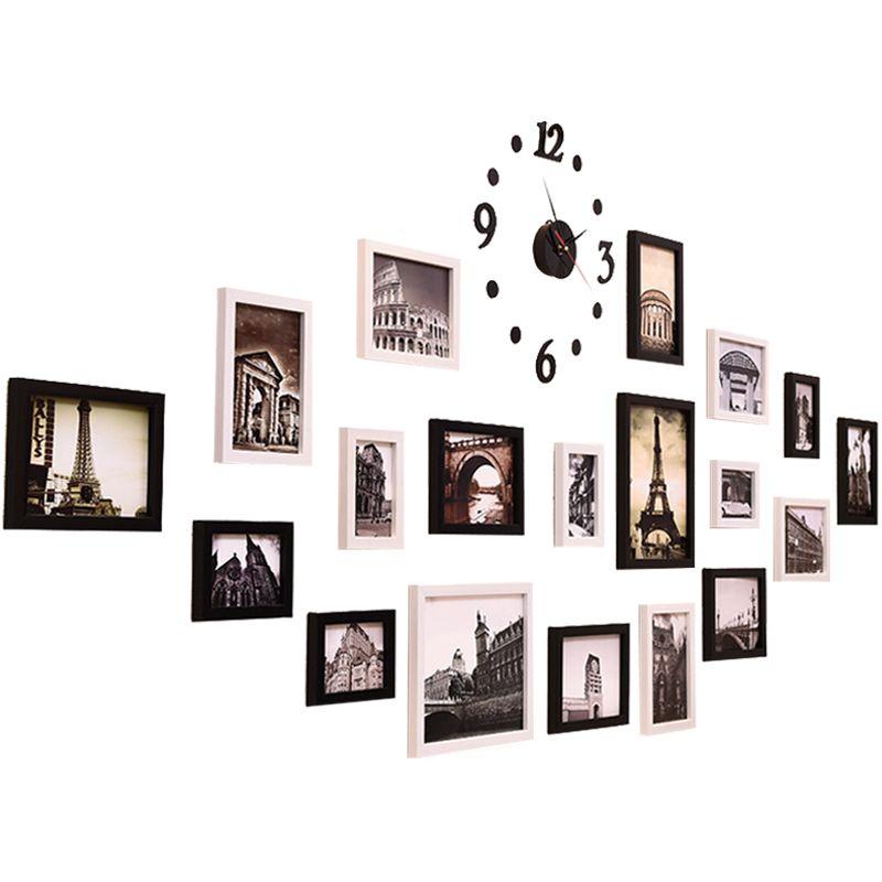 Висячие рамки для декора стены бумаги Wall Photo Frame Set DIY Свадьба Семья Фоторамки Set Висячие 19 шт часы Стиль
