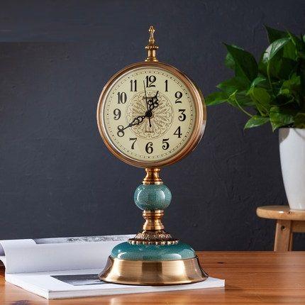 Furnishing Snooze Function Decoration Pendulum Table Alarm Silence Desk Clock Office Night Bedroom Metal Vintage Clock LY455