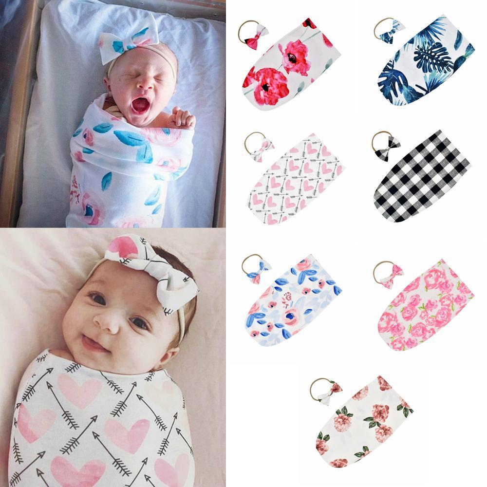 7styles Baby Sleeping Bags Newborn Infant Baby Swaddle Blanket Kid Baby Sleeping Swaddle printed Wrap floral Headband 2pcs/ lot FFA2197-1