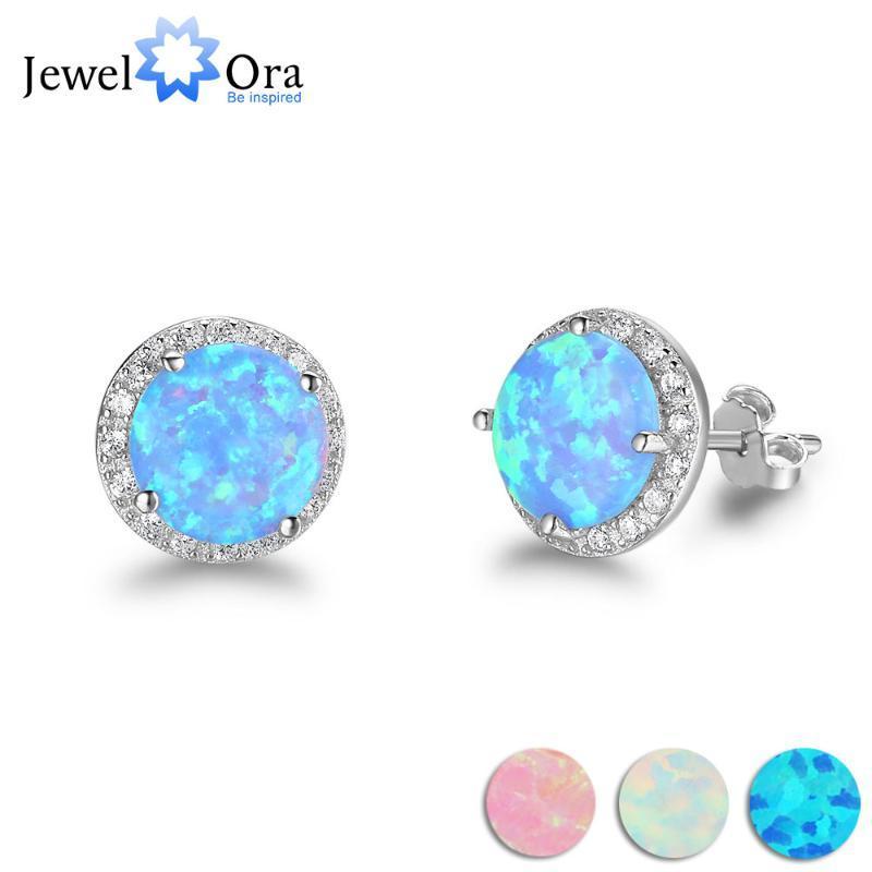 10mm Mavi Opal Taşı for Her Kadın Hediyesi için 925 Gümüş saplama Küpe Okyanus Stil Moda Küpe (Jewelora EA102018)
