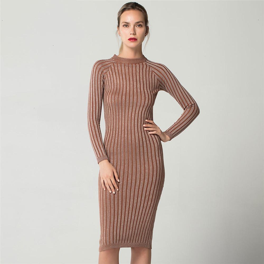 Diseñador del vestido de diseñador de las mujeres ropa delgada brillante vestido de seda de punto de manga larga de la linterna de la manga de las mujeres de Bodycon de la oficina de señora del otoño del resorte