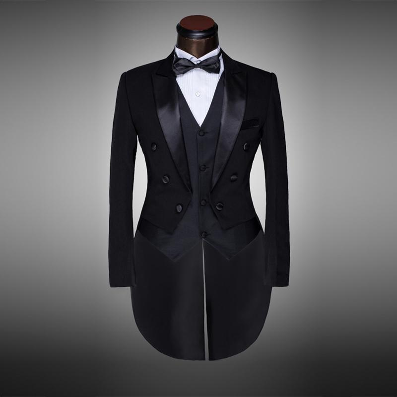 Classic Design Men Black&white Wedding Suit/groom Tuxedo/evening Party/costumes Tailcoat 4pieces Blazer(jacket+pants+belt+tie) Y190420