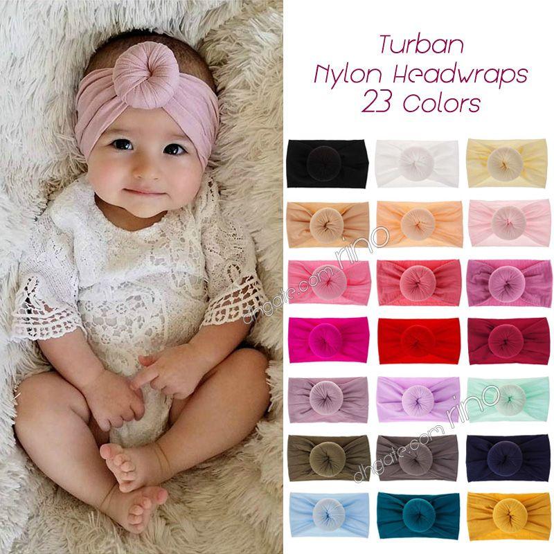 Le fasce del bambino Miscela del cotone nylon fascia Kid neonate neonato turbante rotonda nodo dell'involucro della testa accessori per capelli