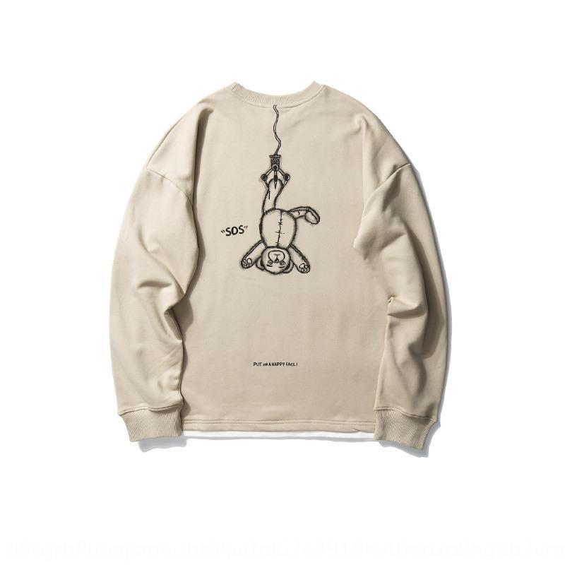 Straße gedruckt New Pullover Cartoon Herbst Rundhals Terry Pullover Pullover Pullover Herren-Mode-Bär loses Paar Marken Top QOiKc