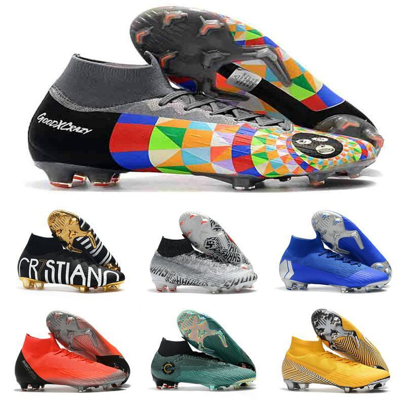 Top Mercurial Superfly VI Soccer Shoes 360 Elite FG KJ 6 XII 12 CR7 SE Ronaldo Neymar For Mens Football Boots Designer Cleats Size 39-45
