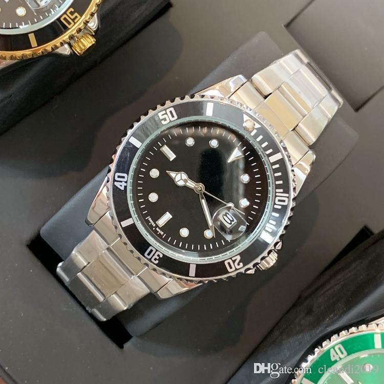 Классический Высокое качество моды Мужские часы Ролл ободок Hardlex стекла из нержавеющей стали с календарным складной застежкой кварц мужские наручные часы класса люкс
