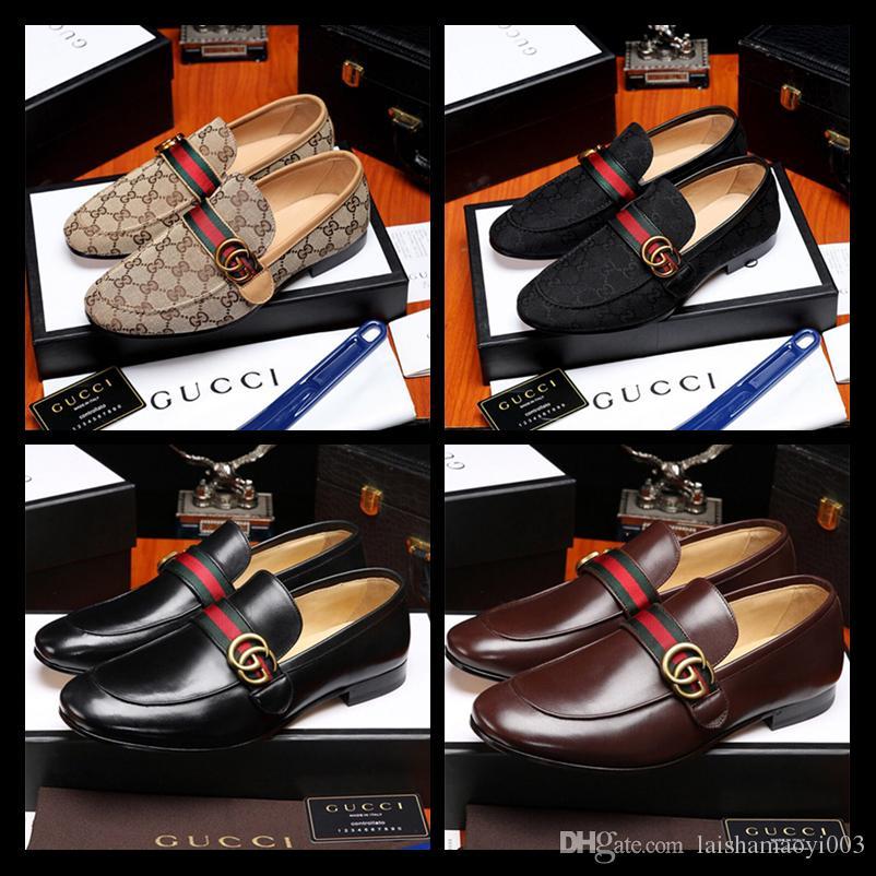 2019 Новый бренд дизайнер скольжения на черный коричневый Итальянский вечернее платье мокасины Мужские квартиры Outlets Мужская повседневная обувь Кожаная мужская обувь