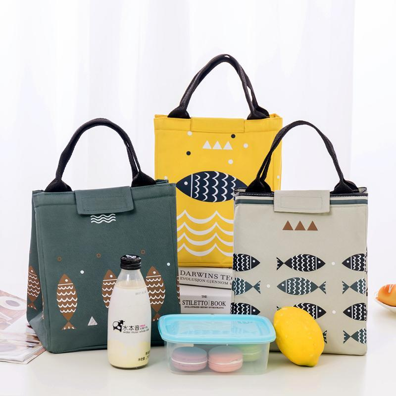 Waterproof Lunch Bag Color Lunch Box Bag Tote Oxford Insulation Package Portable