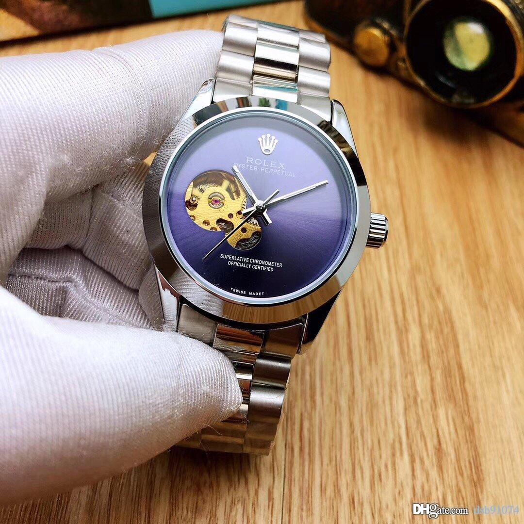 Fashion Hollow Crown Dial Business Men's Mechanical Watch Stainless Steel Strap Waterproof Diameter 38mm Thickness 12mm Dial3