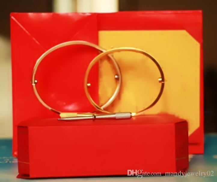 Браслеты из нержавеющей стали Любовь серебряные розовое золото Браслеты Женщины Мужчины Винт Отвертка Картер Любовь Браслет Пара Ювелирные изделия с оригинальной коробкой