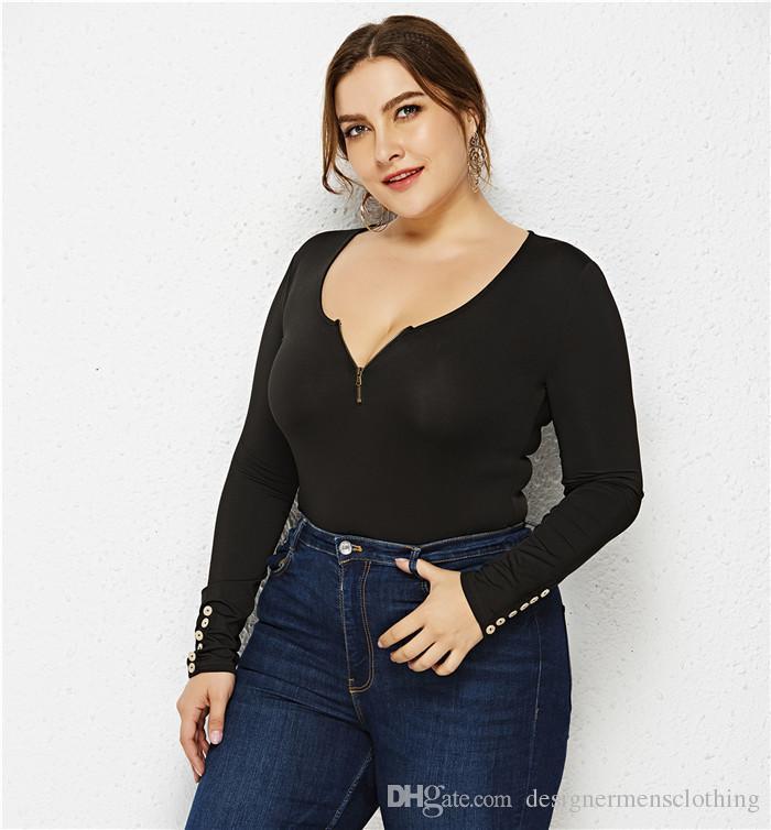 Tees Moda Günlük Kadın Giyim Seksi Artı boyutu Scoop Boyun Kadın Tasarımcı tişörtleri Fermuar Düğme Uzun Kol Tops
