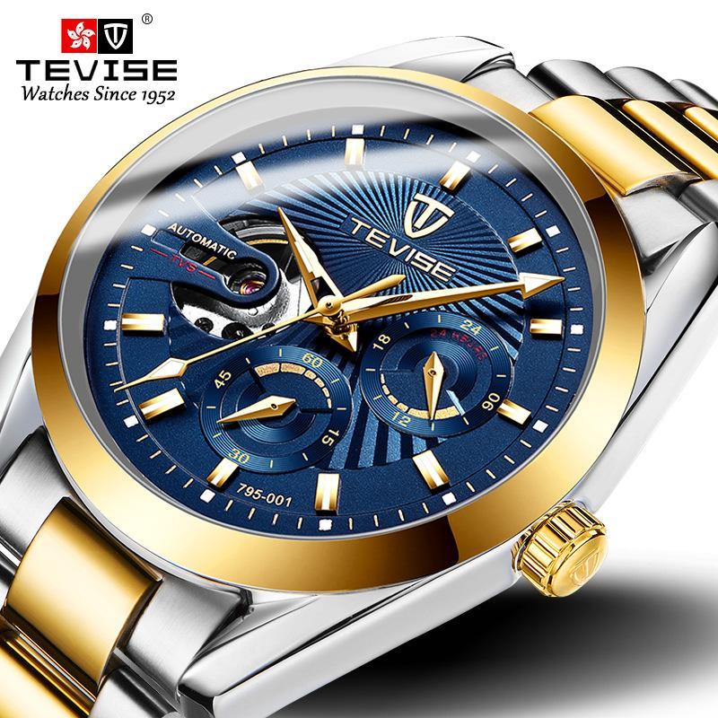 Nouvelle mode Tevise Hommes Montre mécanique automatique Hommes Hommes en acier inoxydable Chronographe Montre-Bracelet Male Clock Relogio Masculino