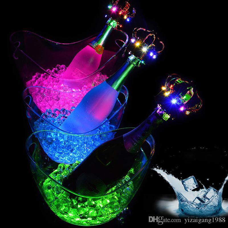Toptan Ücretli LED Buz Kovası 4L Büyük Şampanya Bira Şarap Soğutucu Buz Tutucu Tek / Renkli Değişen Işıklı LED Buz Küvet