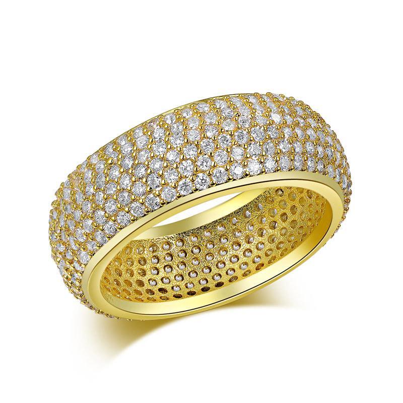 رجل عصابة الهيب هوب المجوهرات الزركون مثلج خارج الفولاذ المقاوم للصدأ خواتم فاخرة مطلية بالذهب لمحبي الأزياء والمجوهرات بالجملة خواتم BlingBling