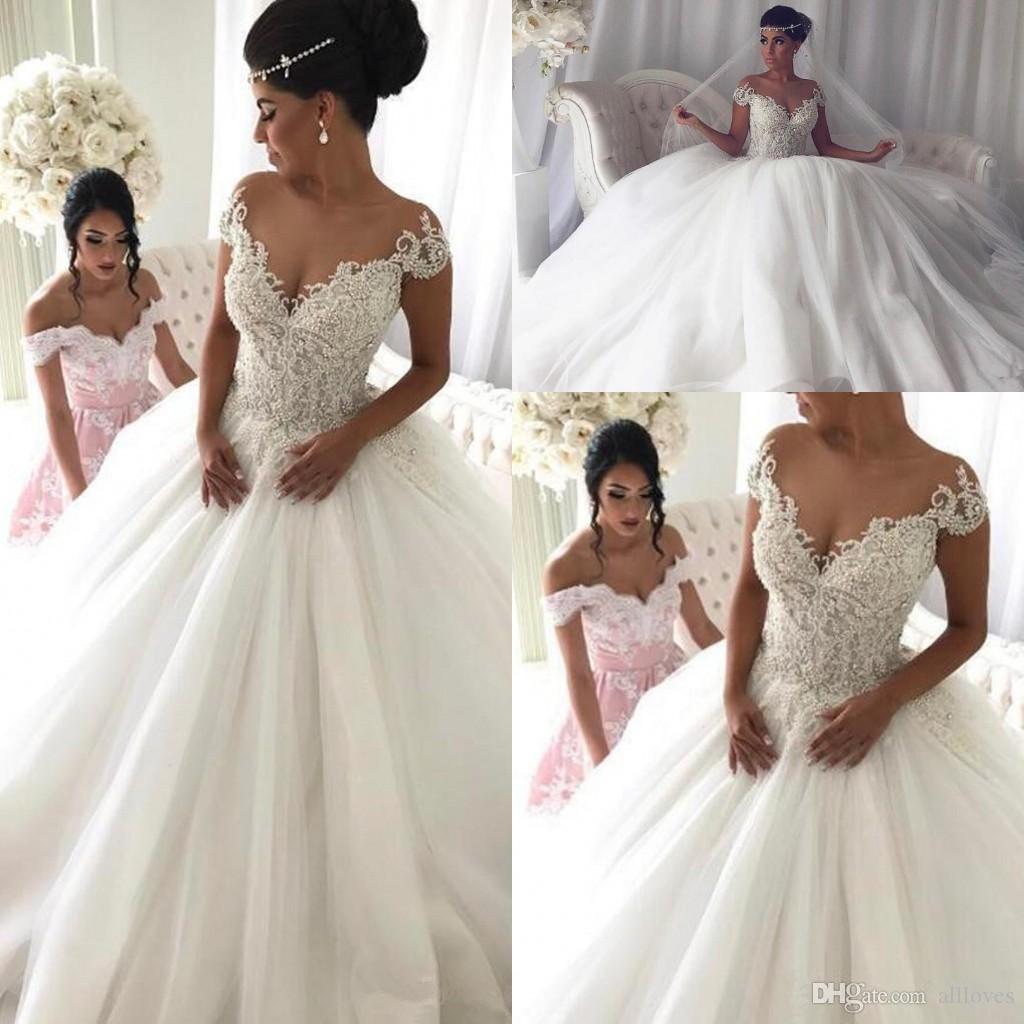 Exquise dentelle robe de bal robe de mariée robes pure ras du cou ras du cou manches courtes perlée robe de mariée Vintage Long train train robes AL2847