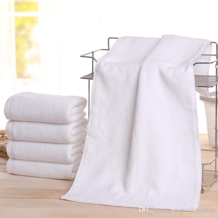 34 * 74 cm Großhandel Sport Hotel Badetücher Gästehaus 100% Baumwolle Weißes Handtuch Unisex Nutzung Natürliche Sichere Badetuch Weichen Bad Lieferungen