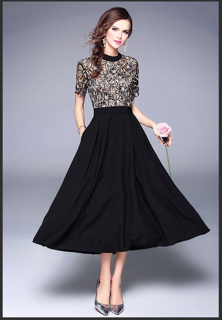 diseño europeo de la moda 2020 nuevo corto o-cuello de las mujeres de la manga del bordado de encaje floral remiendo de la gasa largo vestido de cintura alta maxi más el tamaño