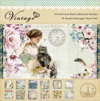 24sheet Double-side Printed Vintage Pattern Diy Scrapbooking Background Paper Pack Creative Craft Art Paper Handmade Kit Set Y19061502