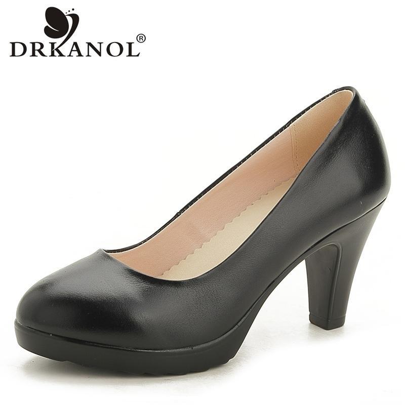 DRKANOL 2020 Printemps Automne Toe Femmes Pompes Pointu Classic Black Chaussures en cuir véritable femmes chaussures femmes Chaussures Bureau Y200702