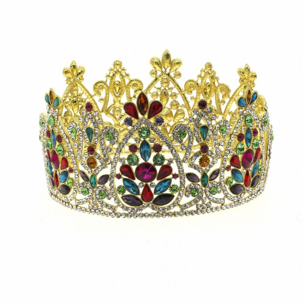Большая королева король театрализованное Корона для свадьбы диадемы и короны большой диапазон волос Кристалл горный хрусталь Пром партии головной убор волос ювелирные изделия
