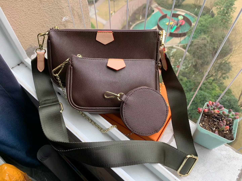 M44823 designer luxo bolsa bolsa mulheres bolsas de ombro letra flor 3 pcs / set cadeia de corrente saco de cintura