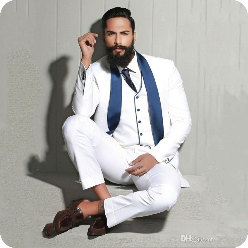 White Groom Tuxedo Satin Shawl Lapel Men Suits Wedding Man Blazers Prom Party Slim Fit Groomsmen Wear Costume Homme 3Piece Coat Pants Vest