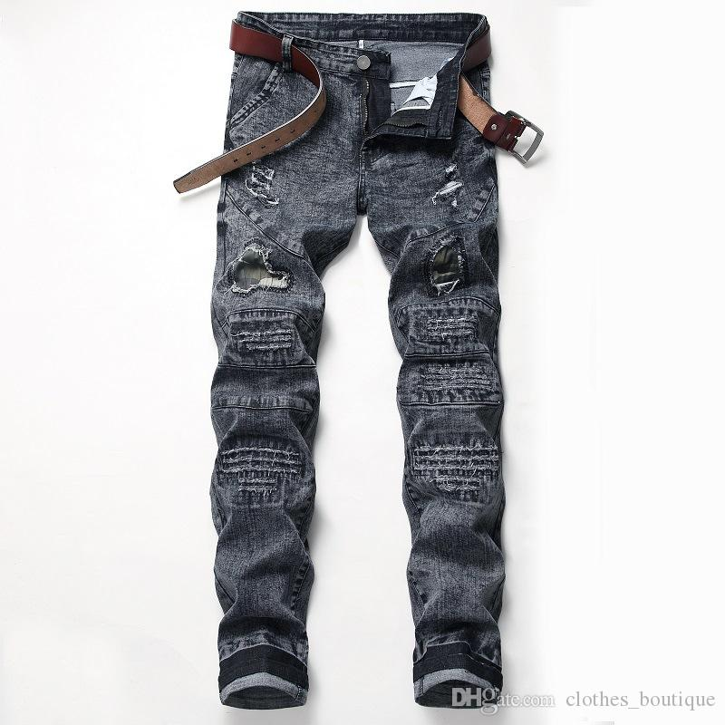 2019 DHL erkek Sıska Streç Kot Pantolon Düz Fit Yıkanmış Denim Kot Sıska Slim Fit Ripped Sıkıntılı Streç Kot Pantolon