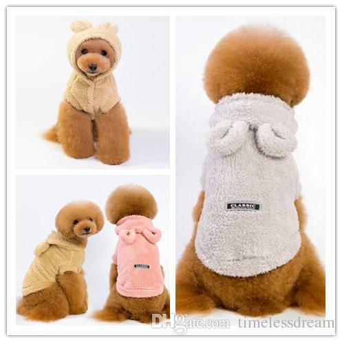 Cute bear ear dog costume 5 size pet clothes 3 color double-faced pile autumn winter warm dog apparel for bichon poodle dog supplies
