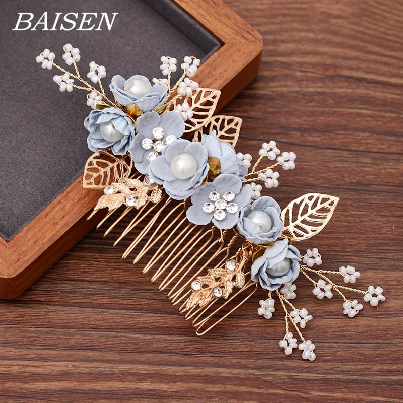 Blue Pearl Blume Hochzeit Haare kämmen Frauen Haarschmuck Blumen-Brautkamm Kopfschmuck Frau Accessoires Kopf Schmuck